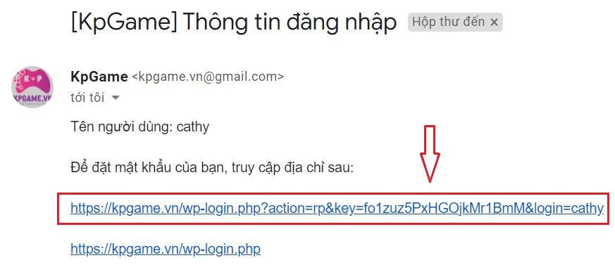 Click vào link để kích hoạt tài khoản và đổi mật khẩu