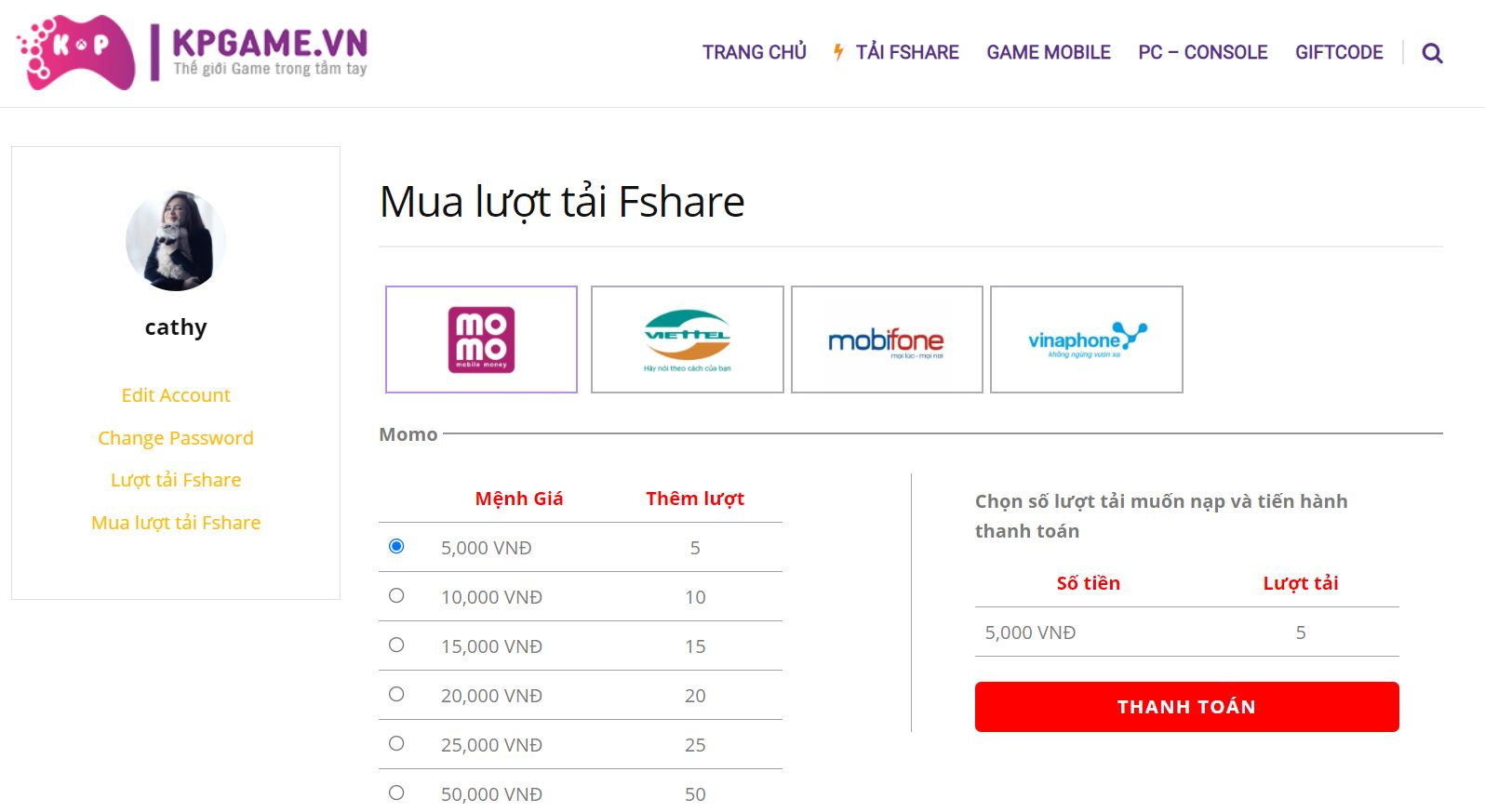 Mua lượt tải Fshare ở Kpgame.vn