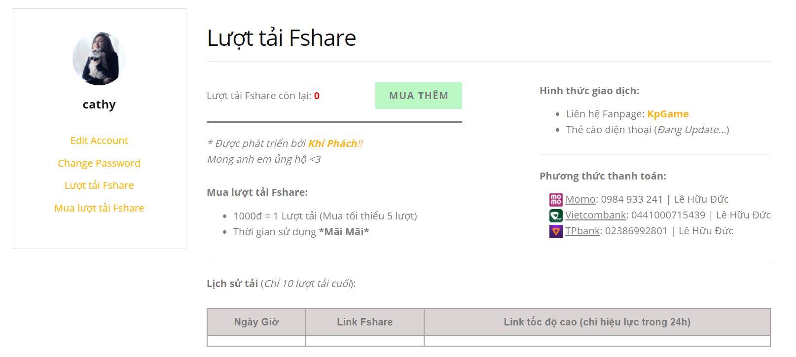 Lượt tải Fshare ở Kpgame